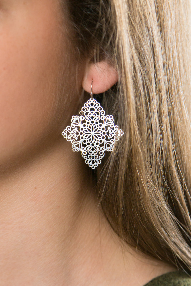 True to Yourself, Scroll Marquise Earring - Matte Gold