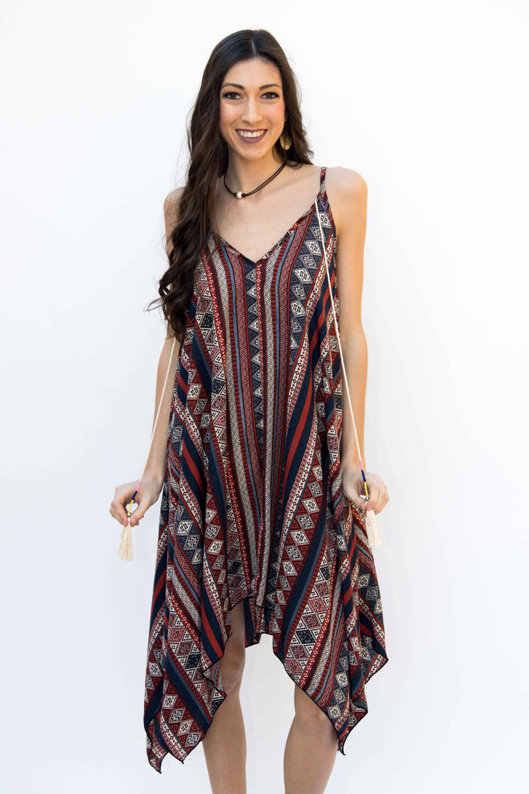 The Four Elements, Dress with Tassels - Burgundy / Tribal Print