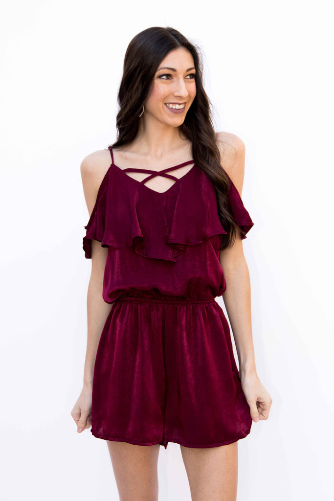 A Soft Touch, Cold Shoulder Satin Romper - Red Wine - Amarello Boutique