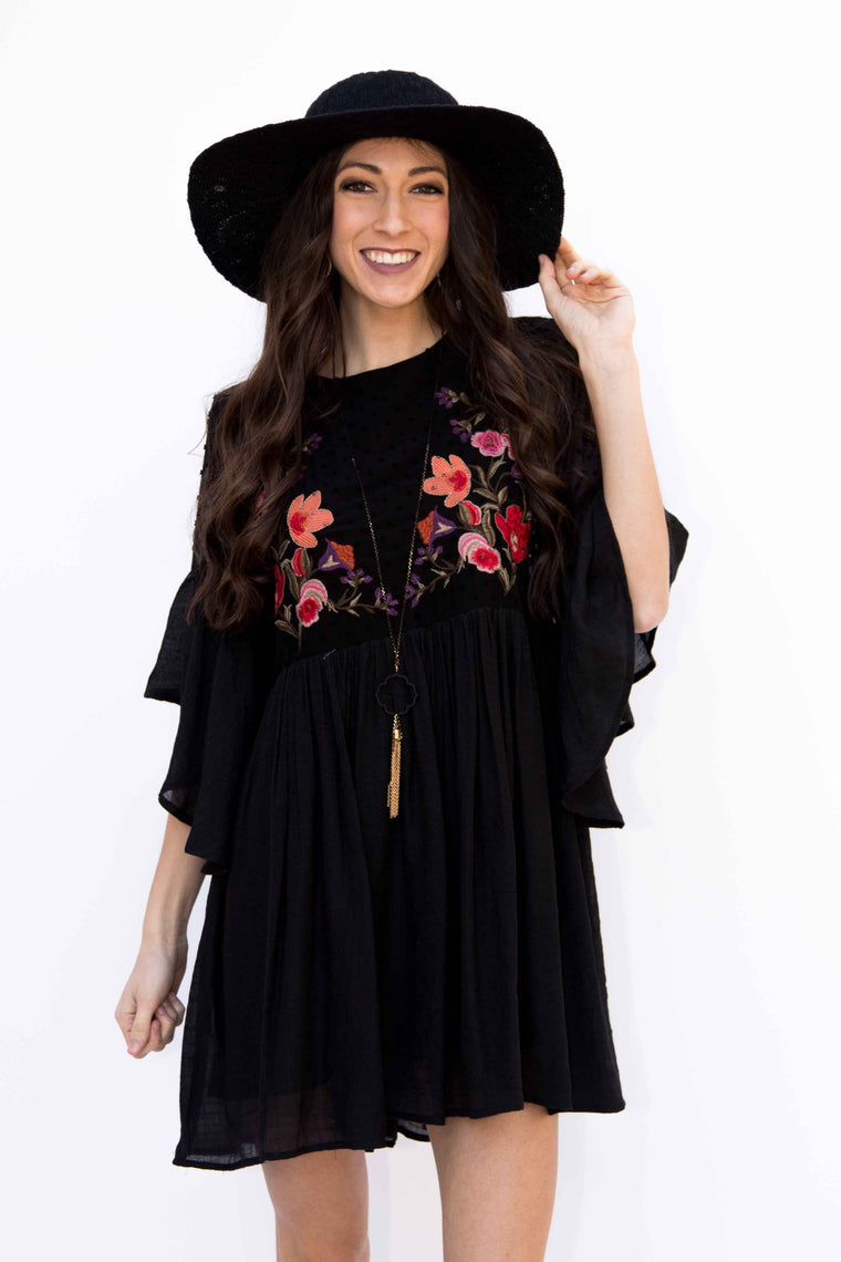By Your Side, Embroidered Dress - Black