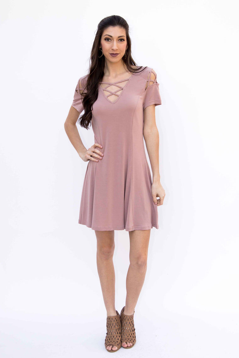 Under Your Spell, Swing Modal Dress - Dusty Rose - Amarello Boutique