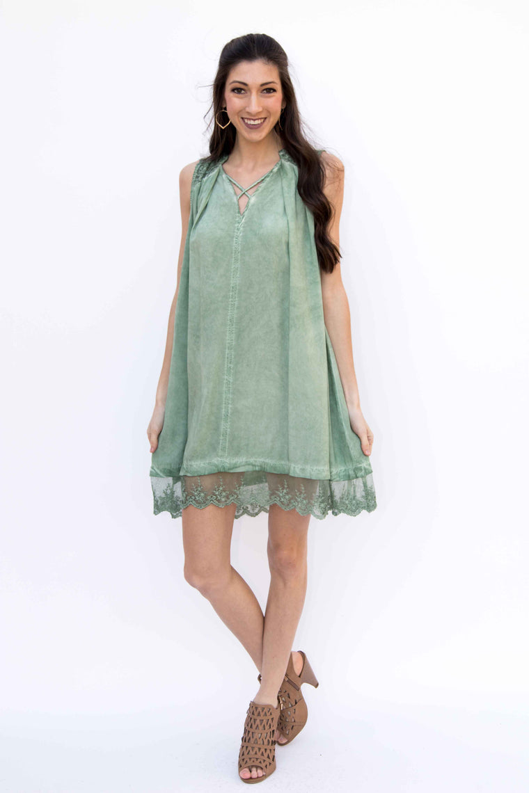 Go With the Flow, Dress - Sage - Amarello Boutique