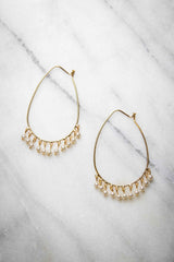 Southern Charm, T-Drop Hoops with Pearls Earring - Gold - Amarello Boutique