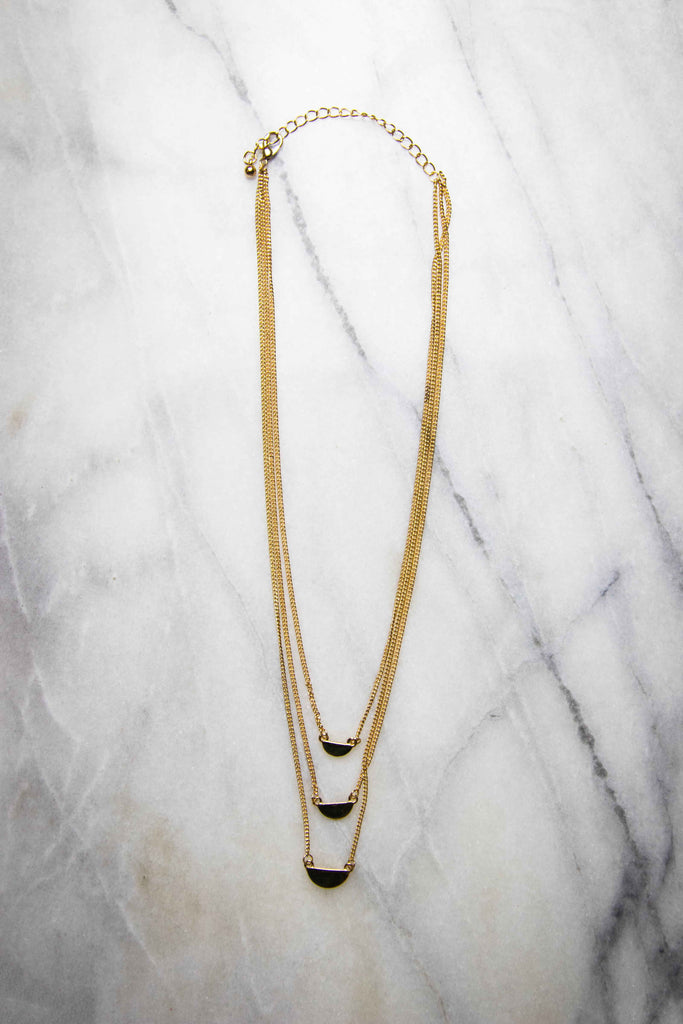 Love Like Mine, Wedge Layered Necklace - Gold - Amarello Boutique