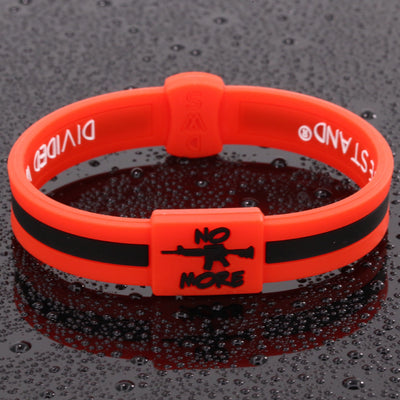No More Guns Lifetime Quality Wristband FREE Shipping - Divided We Stand® Political & Social Gear