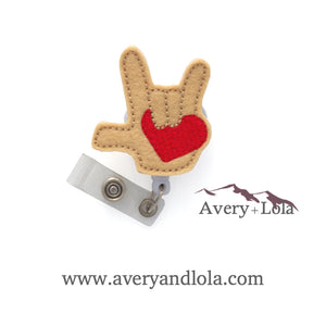 I Love You ASL with Heart Badge Reel
