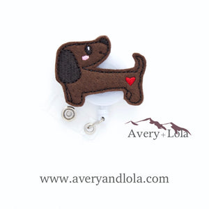 Dachshund With Heart Badge Reel