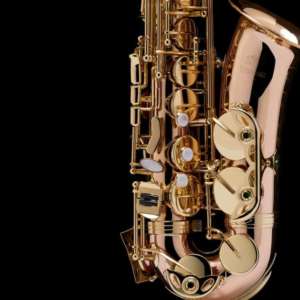 A close up image of an Alto Saxophone from Wessex Tubas