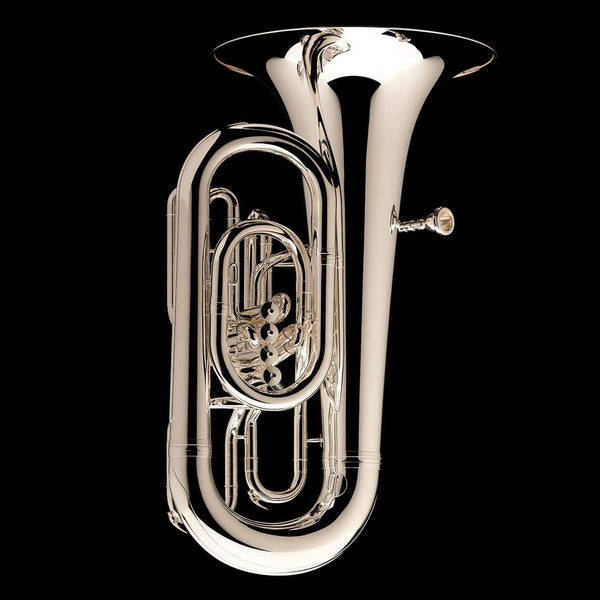 An image of a Eb Front Piston Compensated Tuba 'Cavalry' in silver-plate from Wessex Tubas