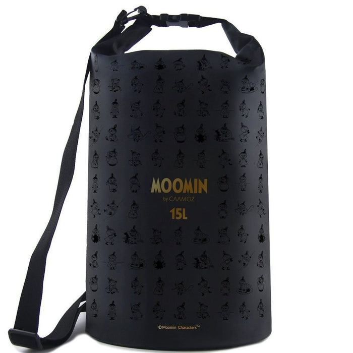 Black Moomin 15L Drybag with gold print by Caamoz