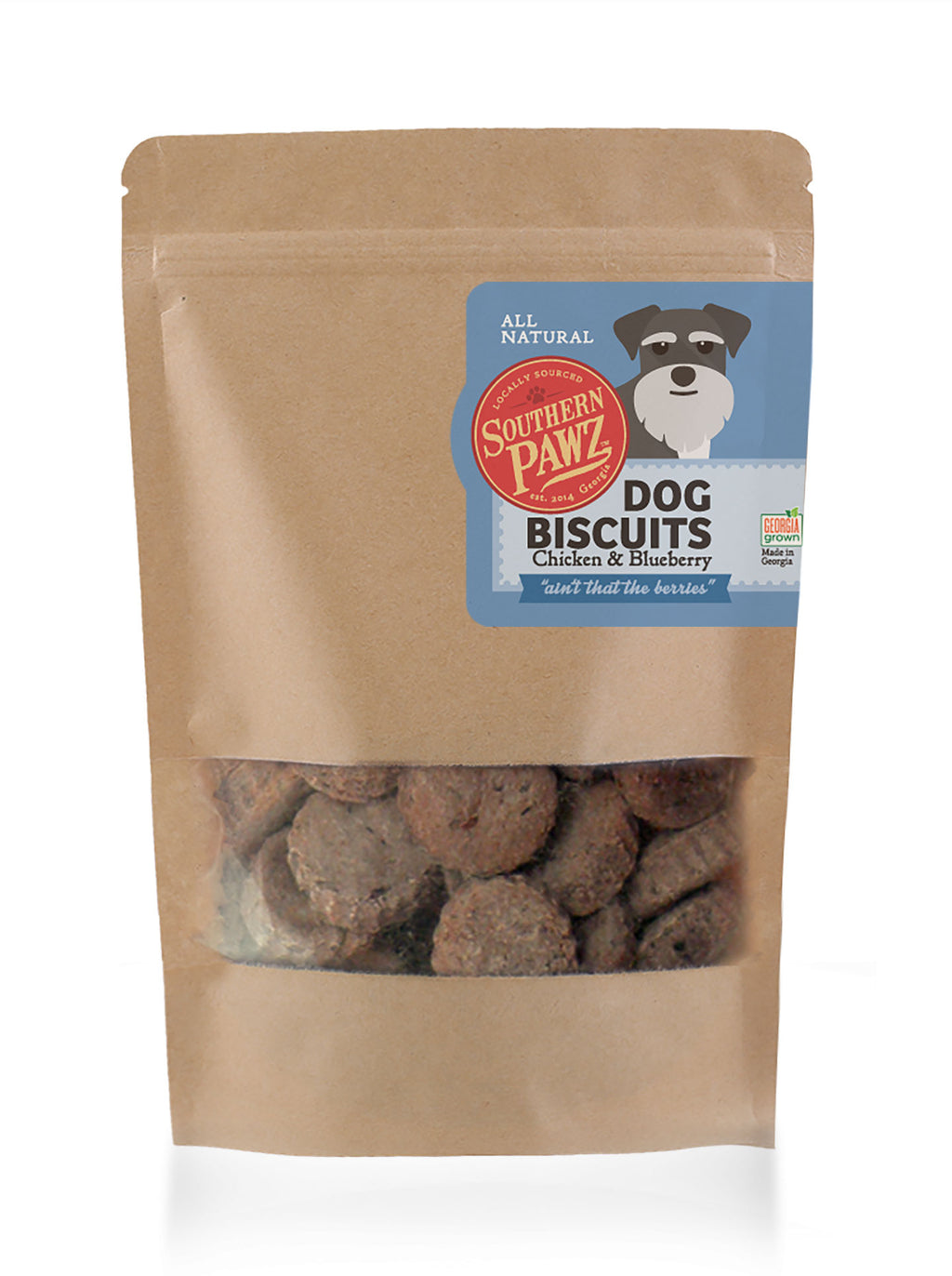 Dog Biscuits - Chicken and Blueberry 6 oz. Resealable Bag Cookie Size Bites