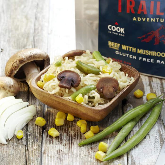 Trailtopia GF Ramen Noodles Beef flavored with Vegetables and Mushrooms