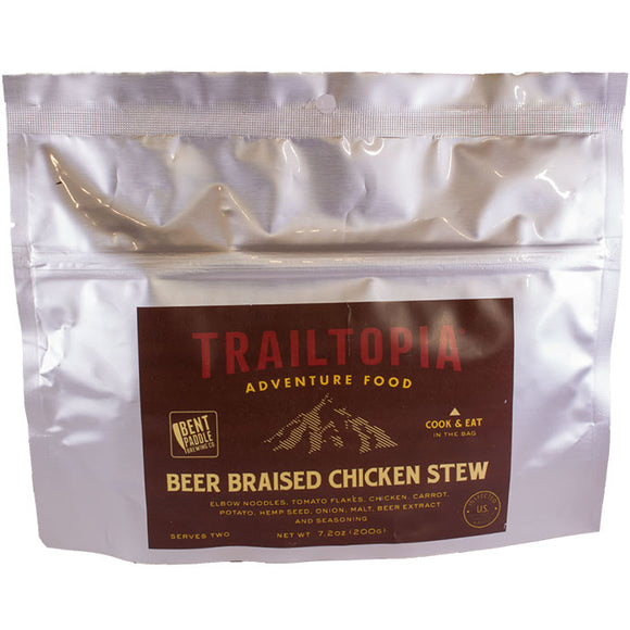 Trailtopia beer braised chicken stew serves two. This is dairy free and is healthy camping food