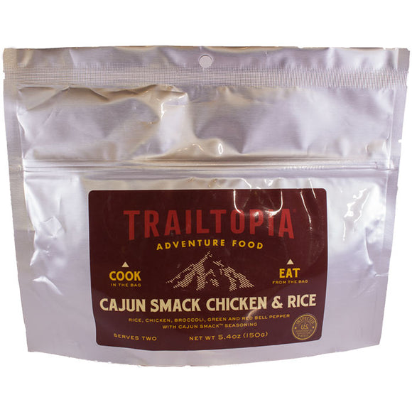 Trailtopia cajun smack chicken and rice serves two. This instant meal is gluten free, dairy free and is an easy backpacking meal