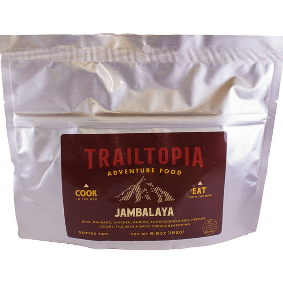 Trailtopia jambalaya is loaded with chicken, rice, sausage, creole seasoning. This no cook backpacking meal serves 2