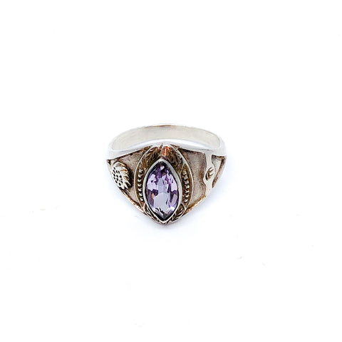 Vintage Sterling Silver Marquise Cut Amethyst Ring