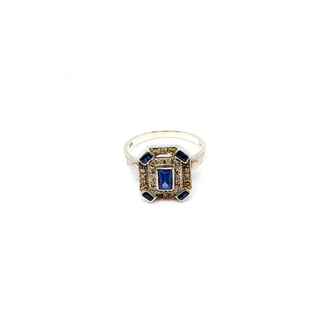 Vintage Sapphire and CZ Emerald Cut Ring