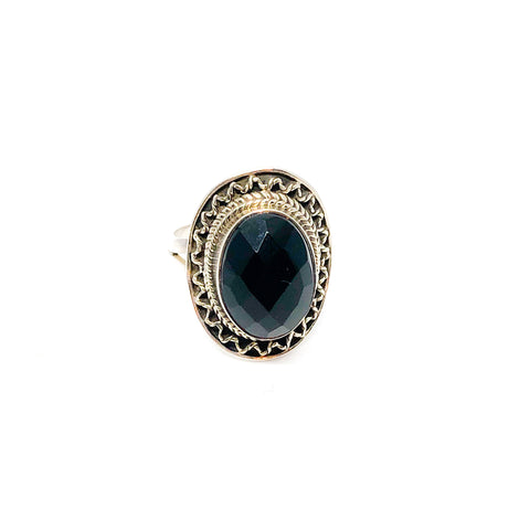 Vintage Sterling Silver Faceted Onyx Ring