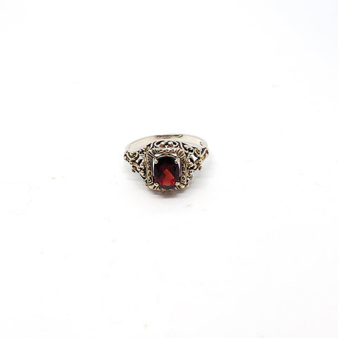 Vintage Sterling Silver and Garnet Ring