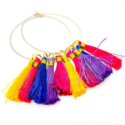 Rainbow Tassel Hoops