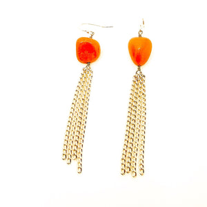 Repurposed Carnelian Tassel Earrings