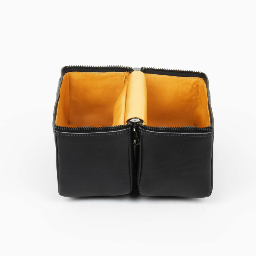 Isaac Reina Large Magic Box for Travel Leather Black Inside