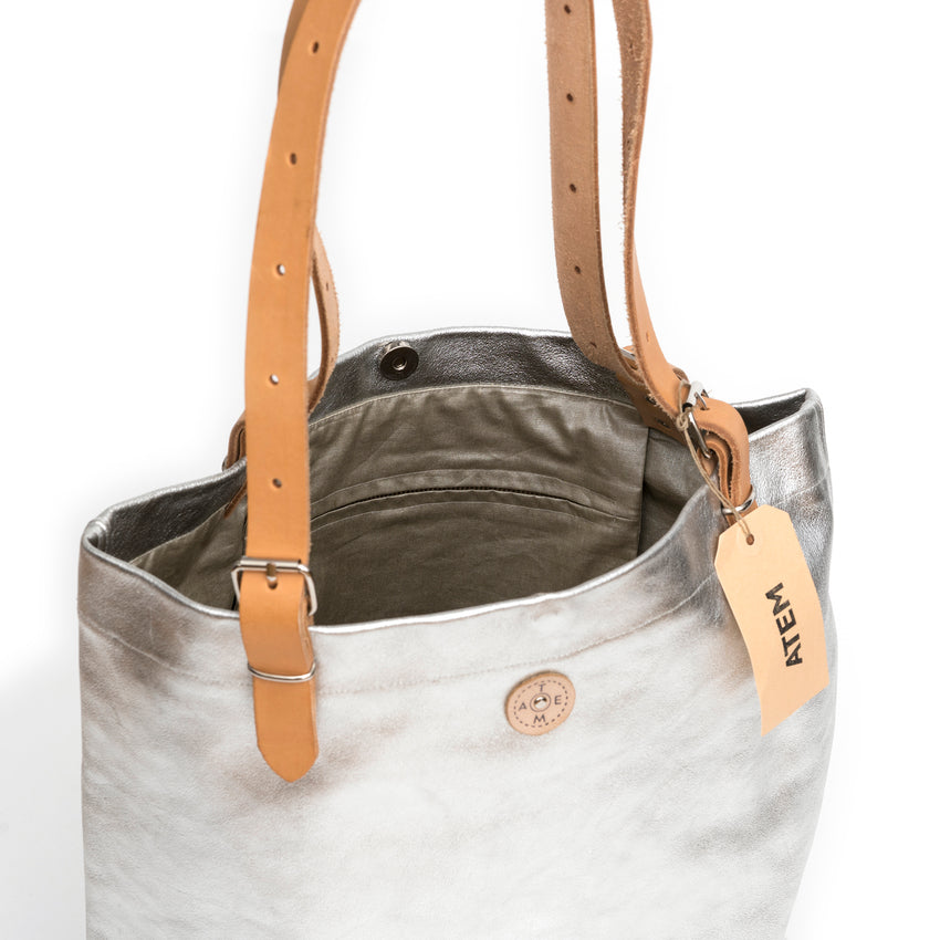 Atem Silver Leather Bag Lea Strap