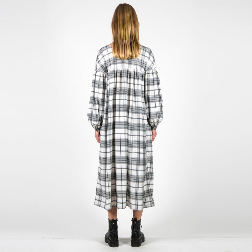Maxi Dress Biela Checked
