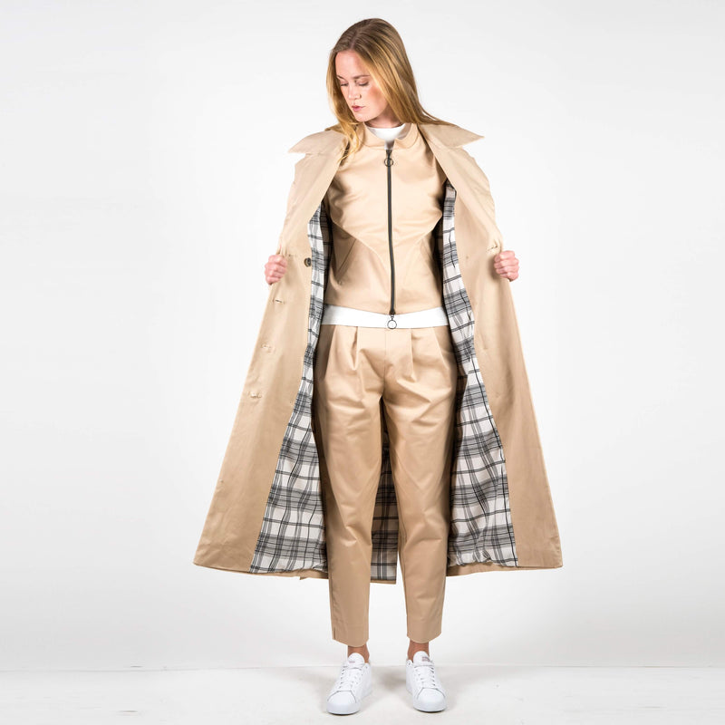 Jan 'n June Trench Coat Milano Nude Inside