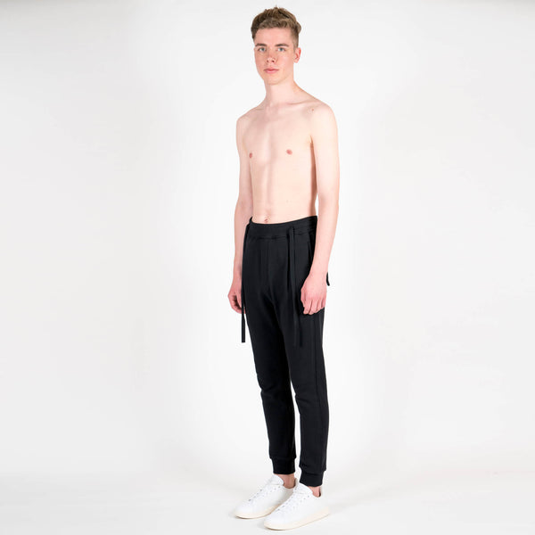 Junli Black Laces Sweatpants Side