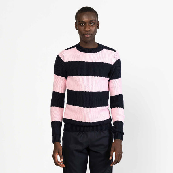 Pink Striped Tuck Stitch Merino Wool Sweater