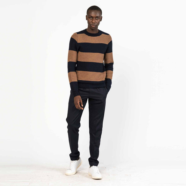 Tobacco Striped Tuck Stitch Merino Wool Sweater