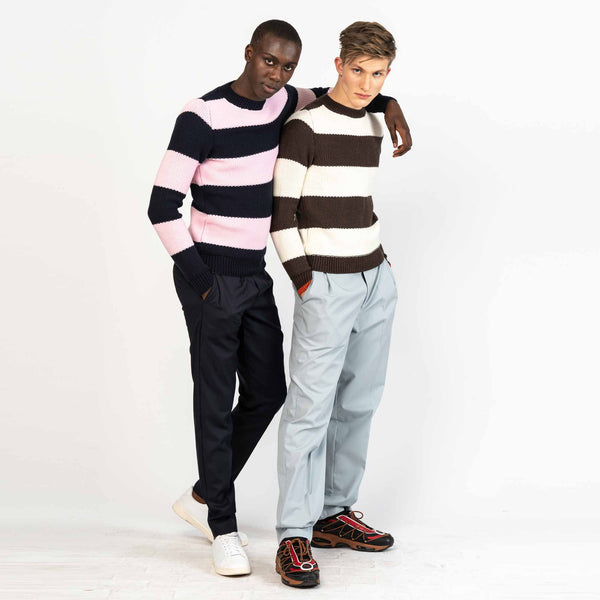 Chocolate White Striped Tuck Stitch Merino Wool Sweater