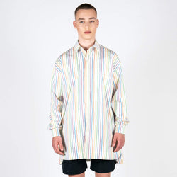 Dropped Shoulder Rainbow Stripe Shirt