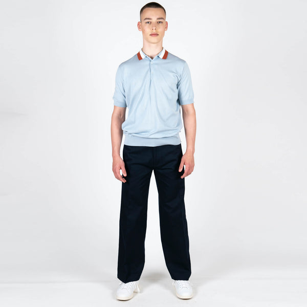 Sea Island Cotton Striped Polo Shirt