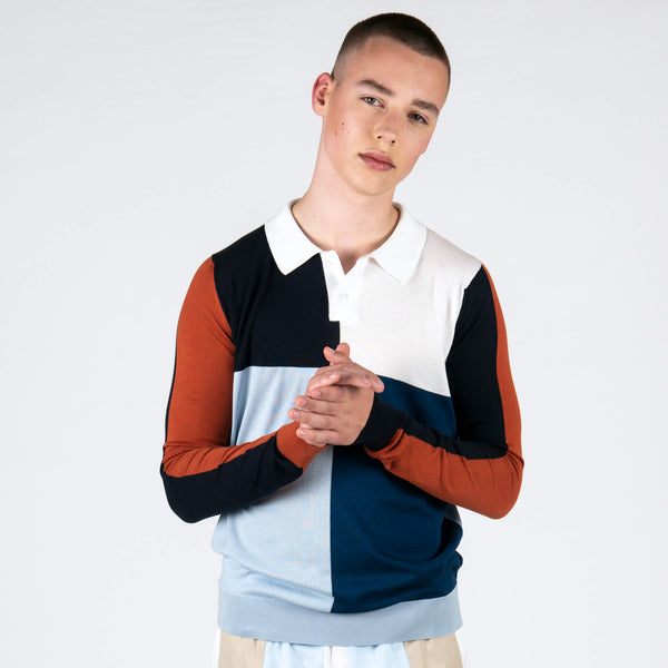 Sea Island Cotton Colour Block Polo Shirt