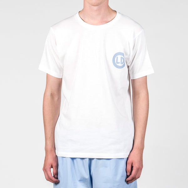 Lou Dalton Hand Drawn Logo T-Shirt White Baby Blue