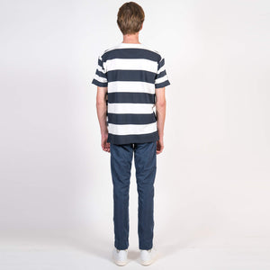 Lou Dalton Multi Stripe T-Shirt White Navy