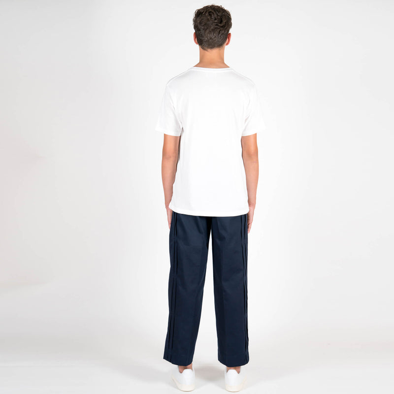 Lou Dalton Navy Stripe Pocket T-Shirt White Back