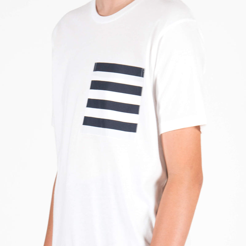 Lou Dalton Navy Stripe Pocket T-Shirt White Detail