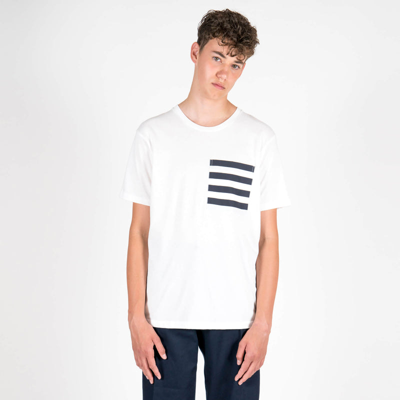 Lou Dalton Navy Stripe Pocket T-Shirt White