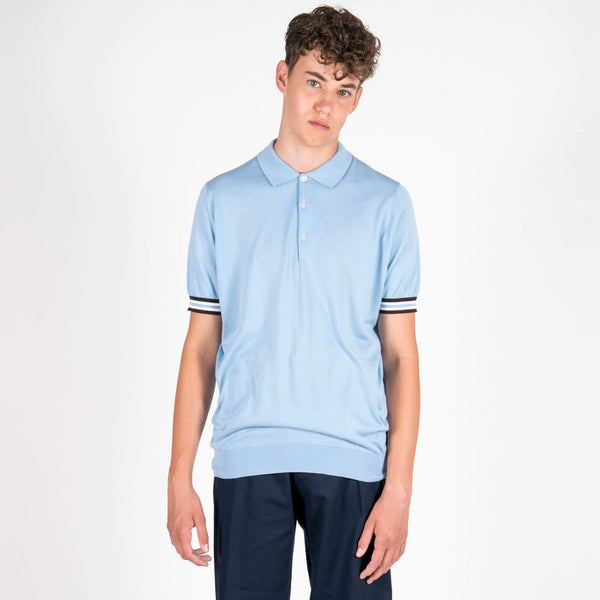 Lou Dalton Sea Island Cotton Sports Cuff Polo Shirt Baby Blue