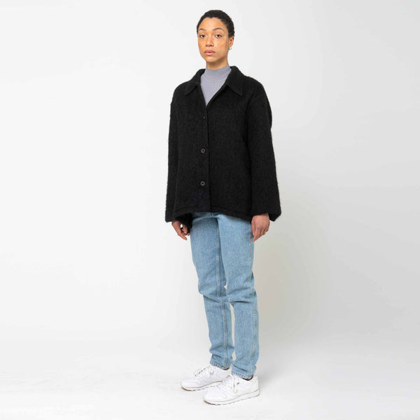 Camp Cardigan Black Mohair