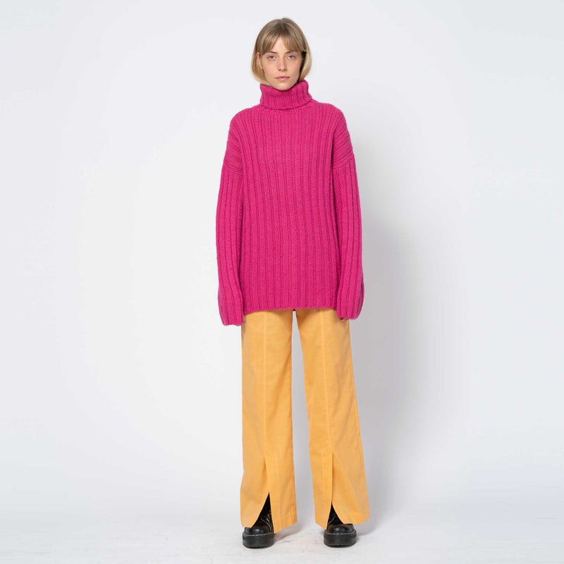 Large Rib Turtleneck Bubblegum