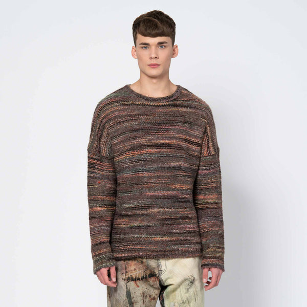 Popover Roundneck Green/Red Smudge Fair Isle