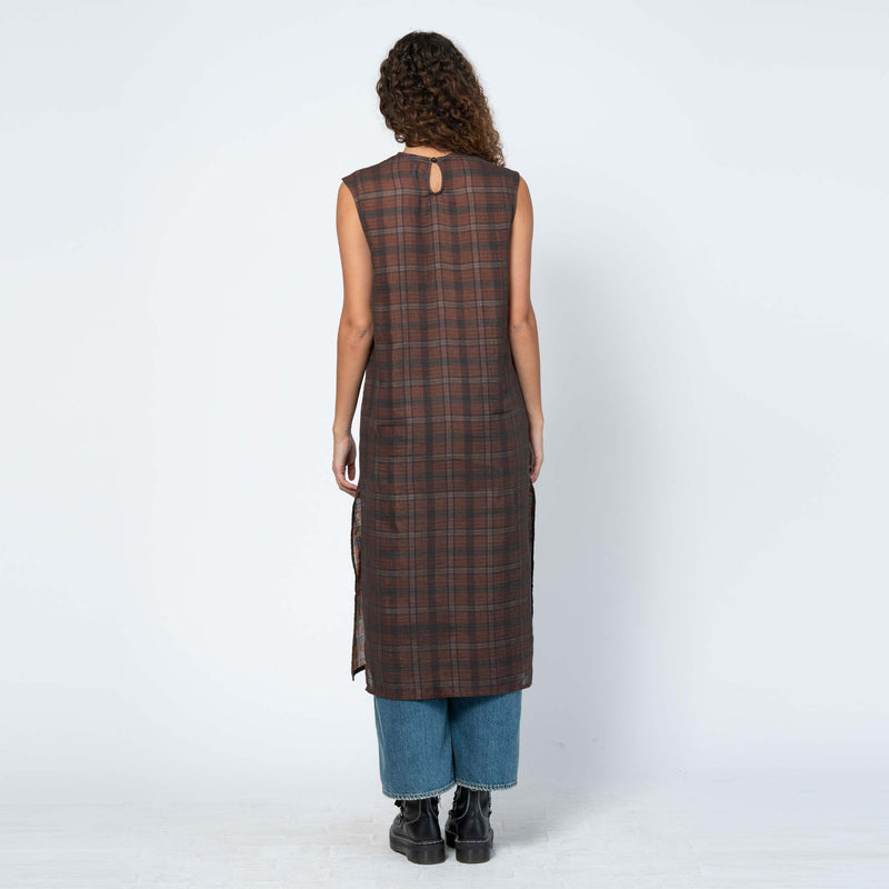 Tunic Dress Orange/ Green Check
