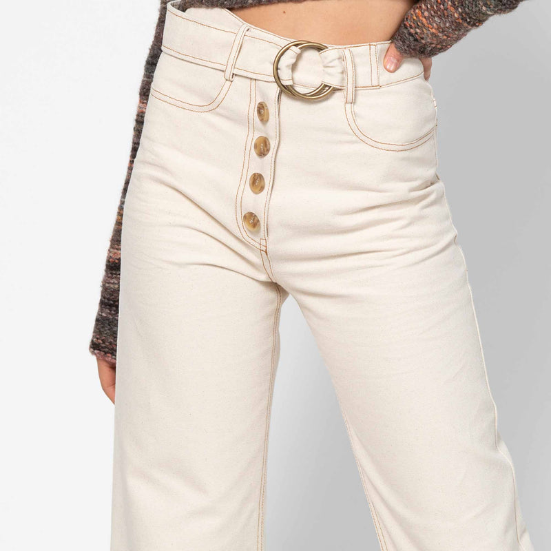 Emily Jeans Cotton Canvas Ecru