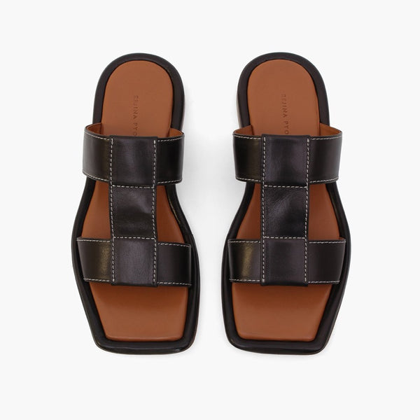 Rowan Black Leather Sandals 7mm