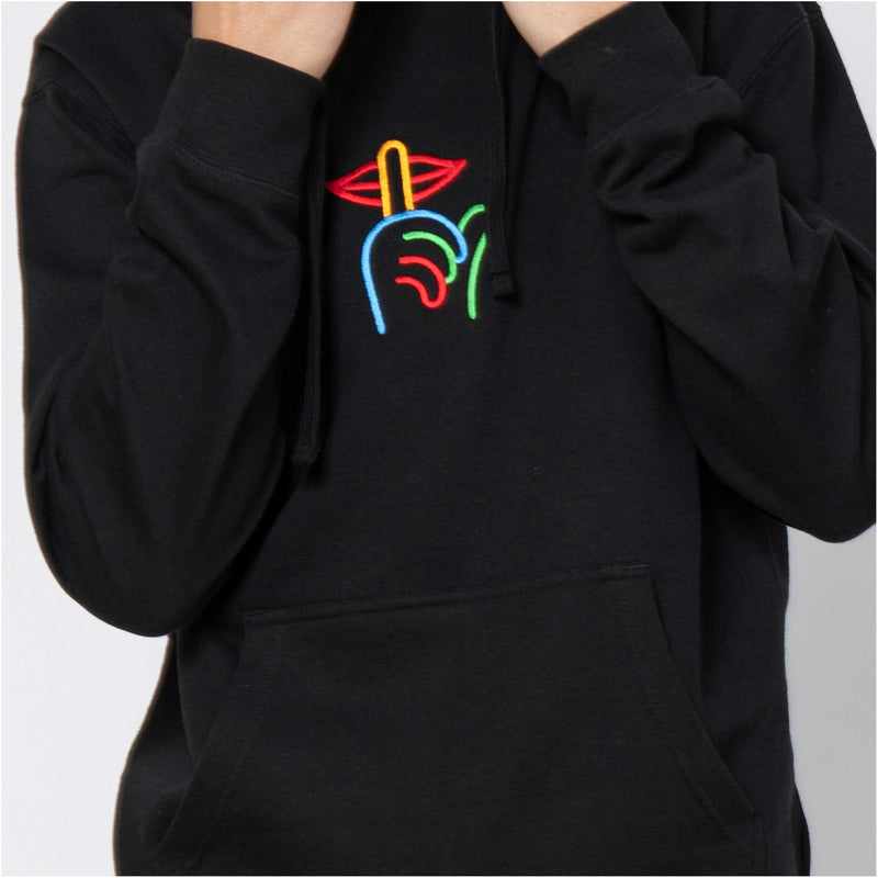 Rainbow Shhh Embroidered Hoodie Black
