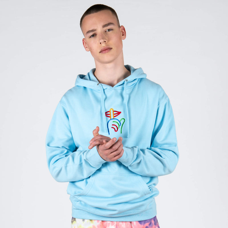 Rainbow Shhh Embroidered Blue Hoodie